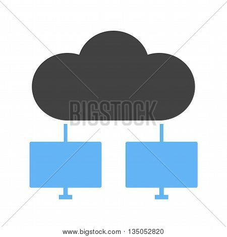 Cloud, computers, network icon vector image.Can also be used for data sharing. Suitable for mobile apps, web apps and print media.