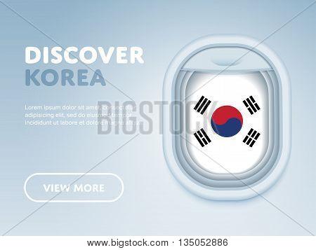Flight to Korea traveling theme banner design for website, mobile app. Modern vector illustration.