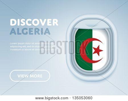 Flight to Algeria traveling theme banner design for website, mobile app. Modern vector illustration.