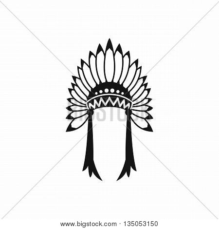 Indian headdress icon in simple style isolated on white background
