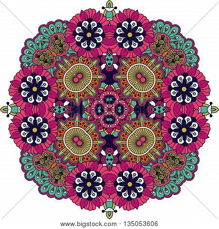 Ornate geometric symmetrical pattern with intricate detailed pink  blue and yellow floral shapes over white background