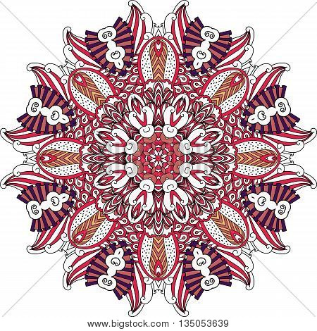 Circular shield like pattern of ornate geometric symmetrical shapes with converging lines over white background