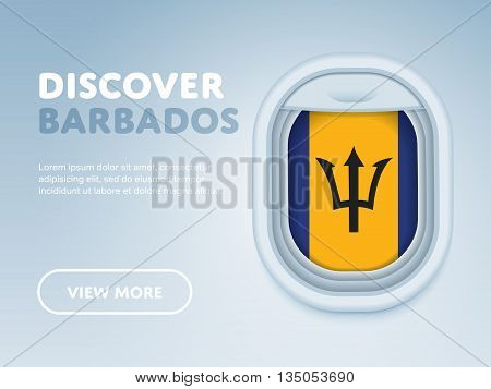 Flight to Barbados traveling theme banner design for website, mobile app. Modern vector illustration.