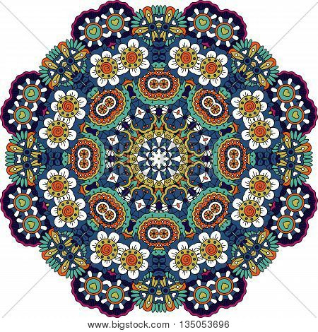 Symmetrical pattern with intricate blue  purple and green geometric detailed floral shapes and little yellow hearts over white background