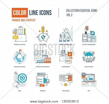 Color thin Line icons set. Logo and pictograms for websites, banners, infographic illustrations. Financial success, project management, protection, investment, businessman, strategic planning, payment