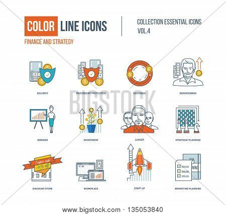Color thin Line icons set. Logo and pictograms for websites, banners, infographic illustrations. Security, investment, exchange, businessman, leader, planning discount store workplace start-up