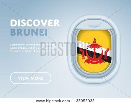 Flight to Brunei traveling theme banner design for website, mobile app. Modern vector illustration.