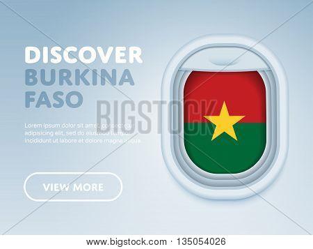 Flight to Burkina Faso traveling theme banner design for website, mobile app. Modern vector illustration.