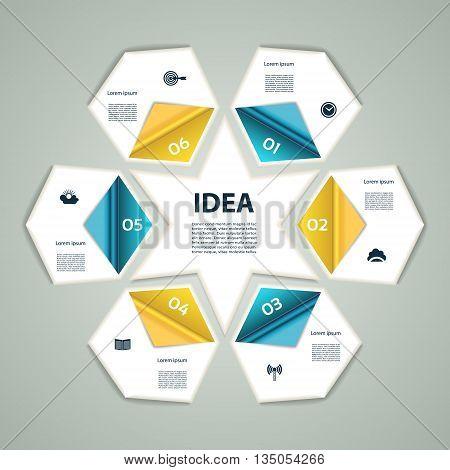 6-Step process modern info graphics light vector background chart diagram graph scheme. Sixpointed star.