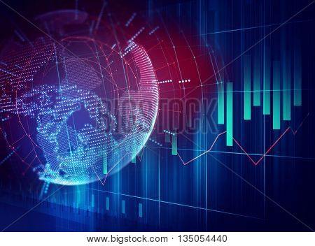 blue earth futuristic technology abstract background illustration