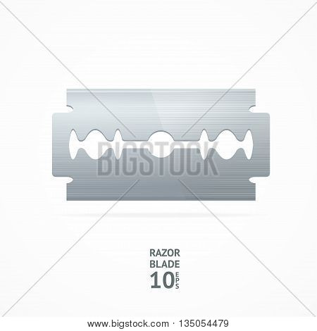 Realistic Steel Razor Blade Isolated on White Background. Vector illustration