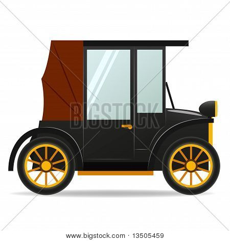 Cartoon Old Retro Car In Black Color