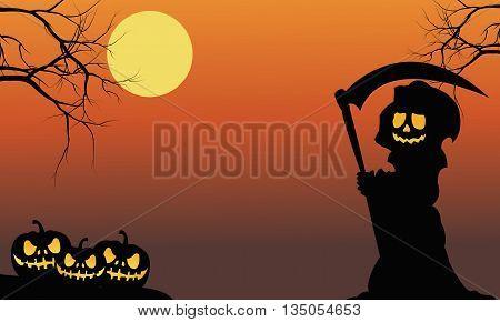 Silhouette of warlock and pumpkins halloween illustration