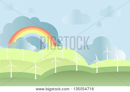 White windmills on green fields, blue sky, rainbow background, vector
