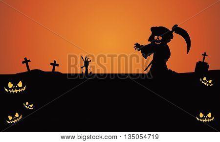 Halloween warlock in tomb silhouette vector illustration