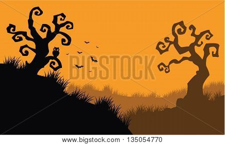 Halloween owl and bat at afternoon vector illustration