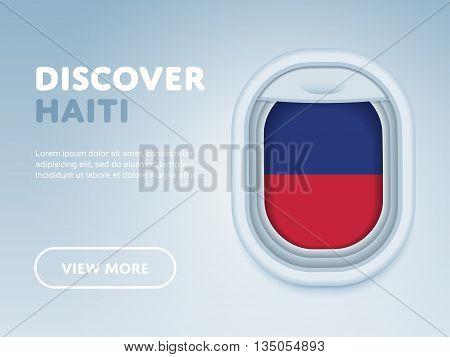 Flight to Haiti traveling theme banner design for website, mobile app. Modern vector illustration.
