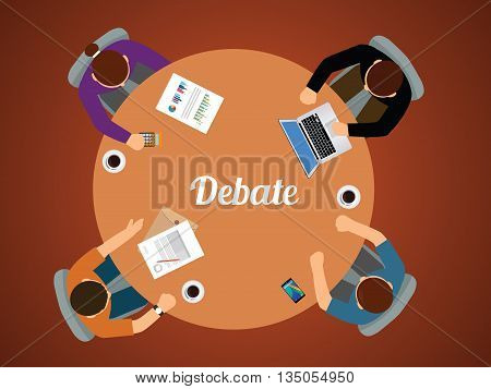 team debate together view from top vector graphic illustration