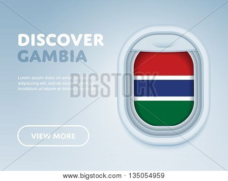 Flight to Gambia traveling theme banner design for website, mobile app. Modern vector illustration.