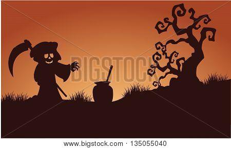 Silhouette of warlock halloween in fields illustration