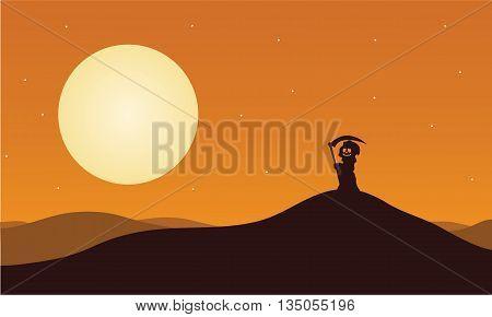 Silhouette of halloween warlock in hills illustration
