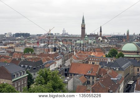 COPENHAGEN DENMARK - JUNE 8: Copenhagen skyline view from the observation deck at The Round Tower ( in Copenhagen Denmark June 8 2016.
