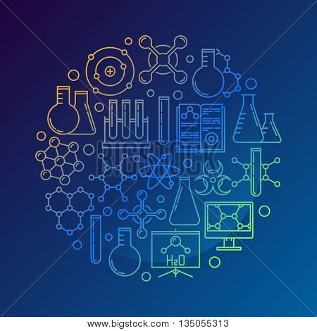 Chemistry concept symbol on dark blue background. Vector colorful round chemistry laboratory illustration. Education and science design