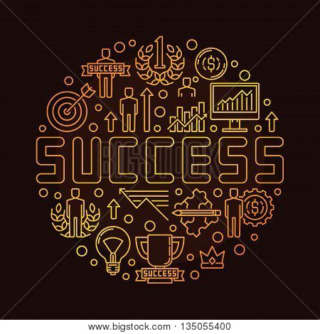 Round success linear symbol. Vector gold concept symbol made with thin line icons. Personal development and success sign on brown background