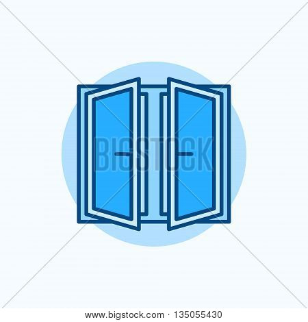 Wide open window vector icon. Flat blue concept window symbol
