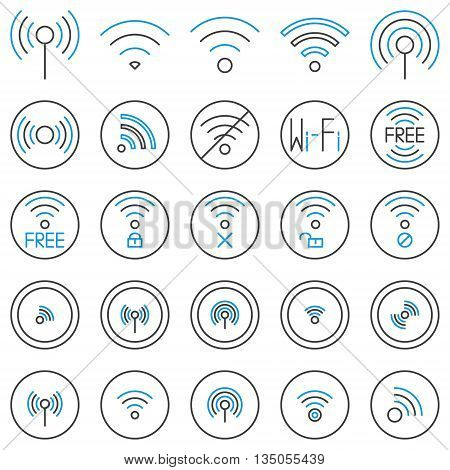 Wi-Fi line icons set. Vector collection of wifi linear symbols. Wireless internet signs or free wi-fi logo elements