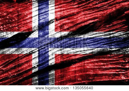 Norway flag on old wood  texture background