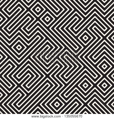 Vector Seamless Black And White Maze Stripes Irregular Geometric Pattern. Abstract Geometric Background Design