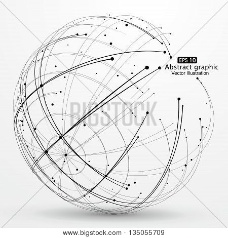 Point and curve constructed the sphere wireframe, technological sense, abstract illustration.