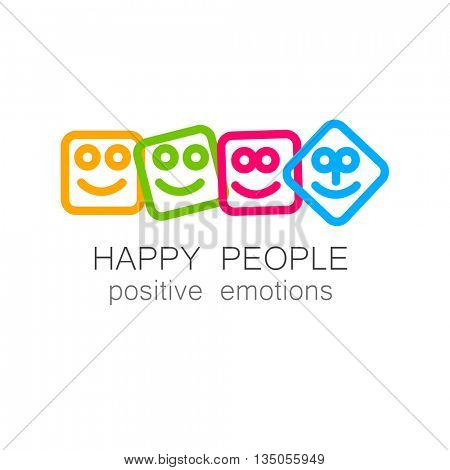 Happy people logo template. Concept logotype design for company. Positive emotions, happy games, entertainment sphere, unity emblem, happy people team, society fund and etc. Vector.