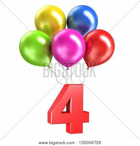 3d rendering model shiny balloons on white background