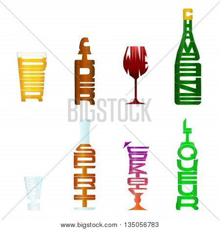 A collection of 8 different types of alcohol using figurative typography, so each items word is in the shape of its meaning.  If downloaded as a vector, an outlined/silhouette version of each item is provided on a separate layer.  *Compound Paths are pres