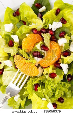 Closeup of healhy breakfast, salad with feta, mandarin and pomegranate