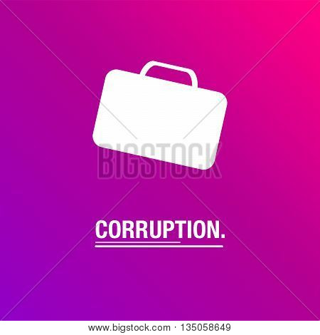 Corruption purple background with suitcase full of money