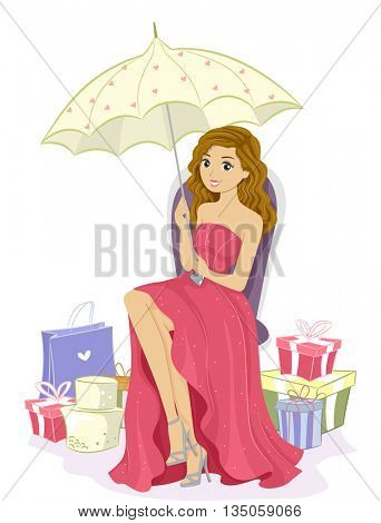 Illustration of a Pretty Debutante Surrounded by Gifts