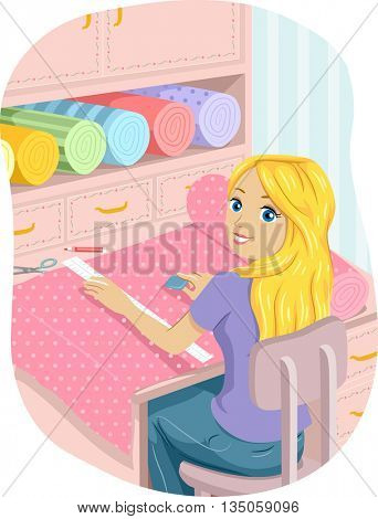 Illustration of a Teenage Girl Cutting Strips of Cloth