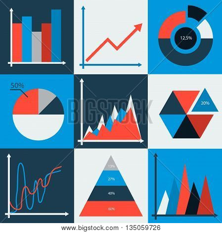 Set of vector business charts, statistic, diagrams. Business data market elements dot bar pie charts diagrams and graphs flat icons set isolated vector illustration.