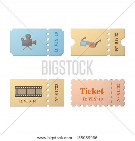 Ticket icon in the cartoon style. Ticket vector illustration. Ticket stub isolated on a background. Retro cinema tickets. Tickets concept icon. Ticket of flat style.