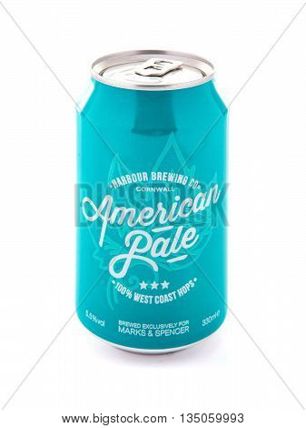 SWINDON UK - JUNE 19 2016: Can of American Pale Ale from Harbour Brewing Co on a white background