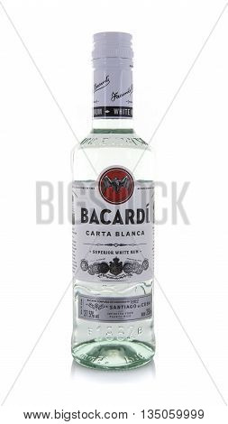 SWINDON UK - JUNE 3 2016:Bottle of Bacardi White Rum on a white background