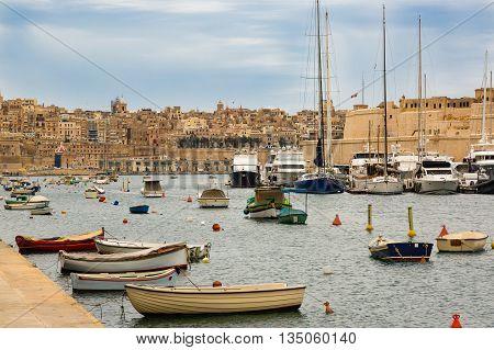 Senglea, Malta - May 7, 2016: In Bay The Grand Harbor
