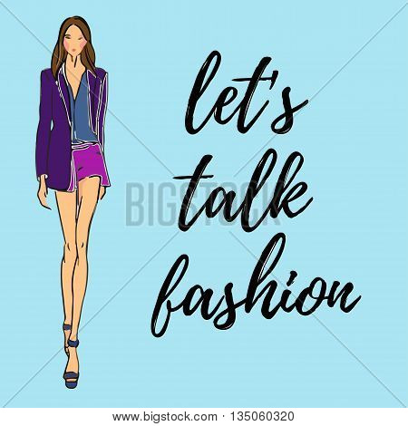 Let's Talk Fashion vector illustration hand drawn. Fashion set vector illustration hand drawn silhouette icons.