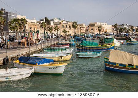 Marsaxlokk , Malta - May 08, 2016: Fishing Port In Marsaxlokk