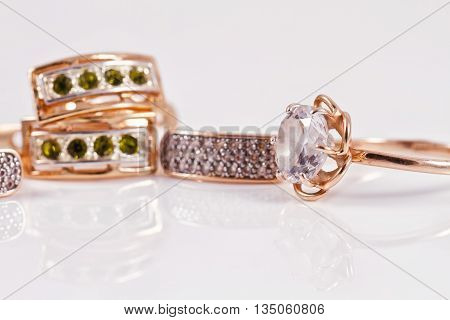Gold Earrings With Emeralds And Cubic Zirconia And Gold Ring With Diamond