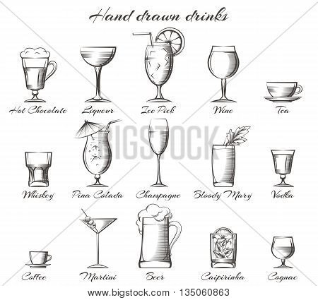 Hand drawn drinks. Vector sketch of alcoholic and non-alcoholic beverages