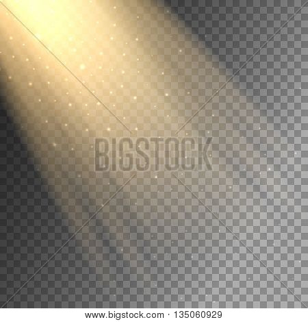 Vector ray of light on transparent checkered background